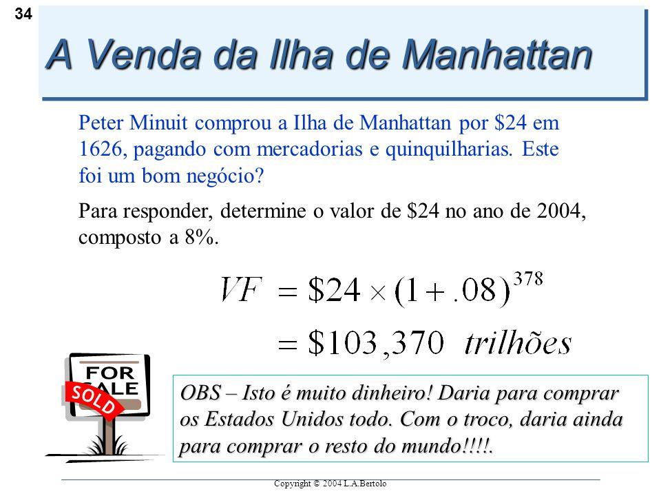Copyright © 2004 L.A.Bertolo 34 A Venda da Ilha de Manhattan Peter Minuit comprou a Ilha de Manhattan por $24 em 1626, pagando com mercadorias e quinquilharias.