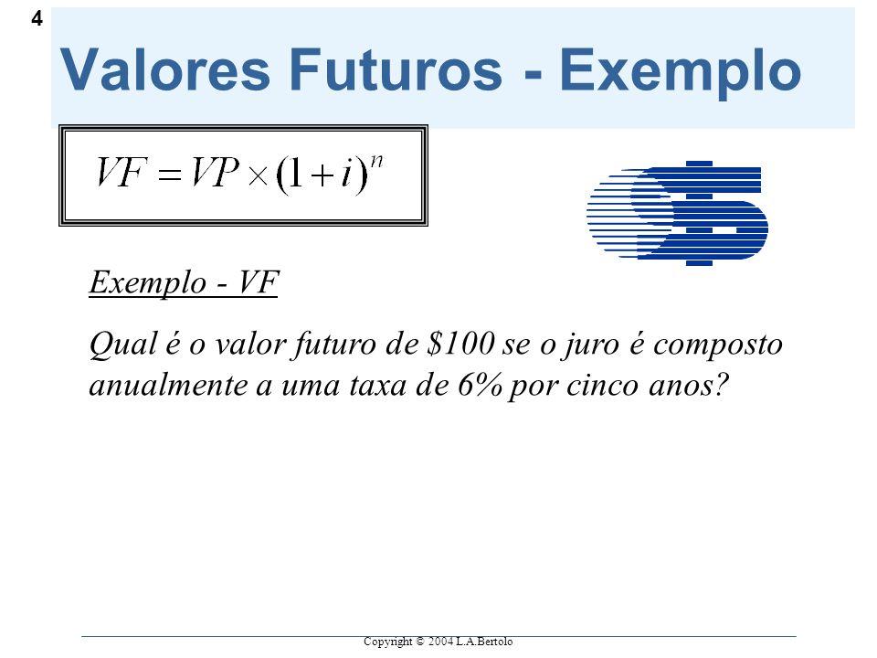 Copyright © 2004 L.A.Bertolo 4 Valores Futuros - Exemplo Exemplo - VF Qual é o valor futuro de $100 se o juro é composto anualmente a uma taxa de 6% por cinco anos?