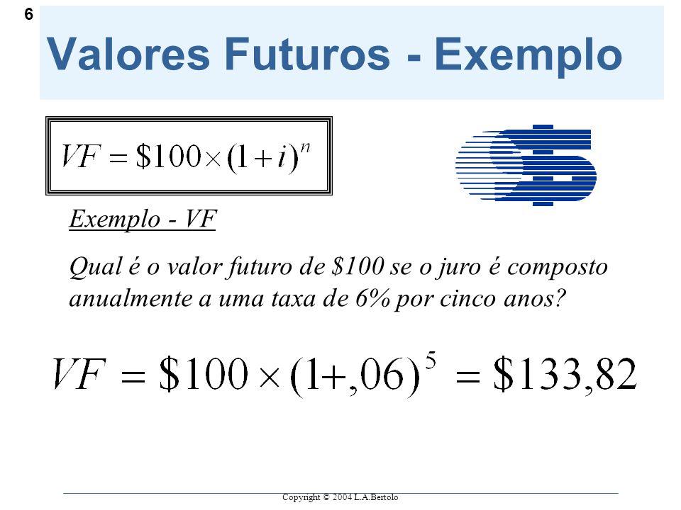 Copyright © 2004 L.A.Bertolo 6 Valores Futuros - Exemplo Exemplo - VF Qual é o valor futuro de $100 se o juro é composto anualmente a uma taxa de 6% por cinco anos?