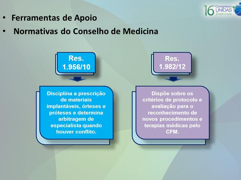 • Ferramentas de Apoio • Normativas do Conselho de Medicina Res. 1.956/10 Res. 1.982/12 Disciplina a prescrição de materiais implantáveis, órteses e p