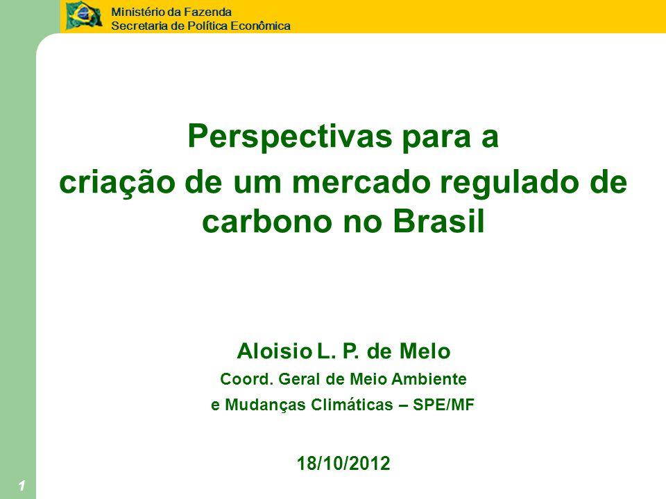 Ministério da Fazenda Secretaria de Política Econômica 1 Perspectivas para a criação de um mercado regulado de carbono no Brasil Aloisio L.