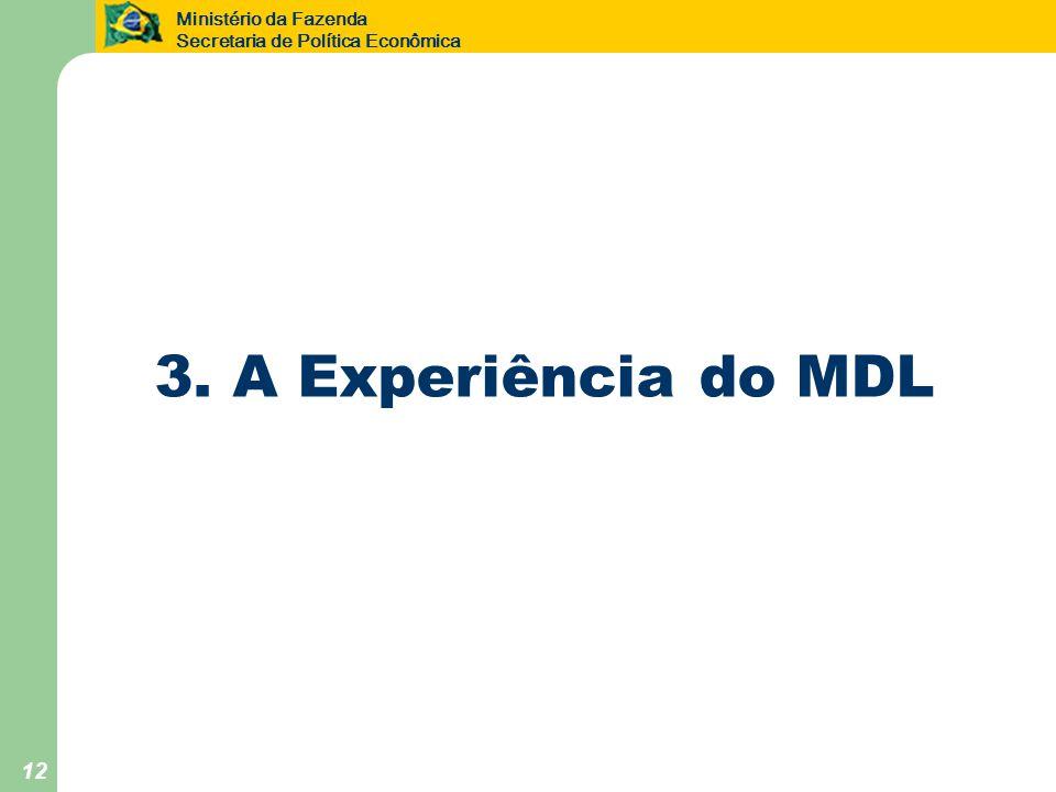 Ministério da Fazenda Secretaria de Política Econômica 12 3. A Experiência do MDL