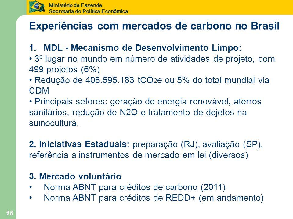 Ministério da Fazenda Secretaria de Política Econômica 16 Experiências com mercados de carbono no Brasil 1.MDL - Mecanismo de Desenvolvimento Limpo: • 3º lugar no mundo em número de atividades de projeto, com 499 projetos (6%) • Redução de 406.595.183 tCO 2 e ou 5% do total mundial via CDM • Principais setores: geração de energia renovável, aterros sanitários, redução de N2O e tratamento de dejetos na suinocultura.