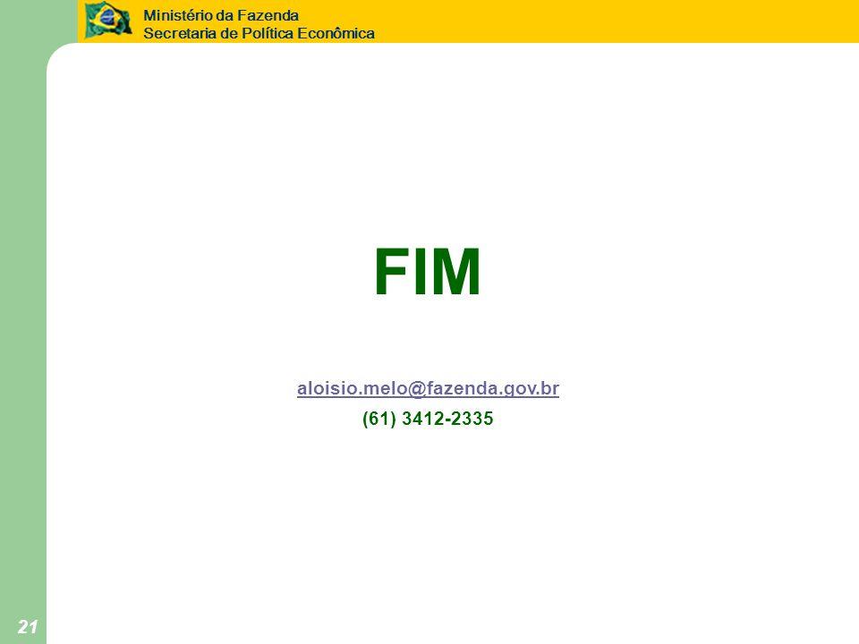 Ministério da Fazenda Secretaria de Política Econômica 21 FIM aloisio.melo@fazenda.gov.br (61) 3412-2335