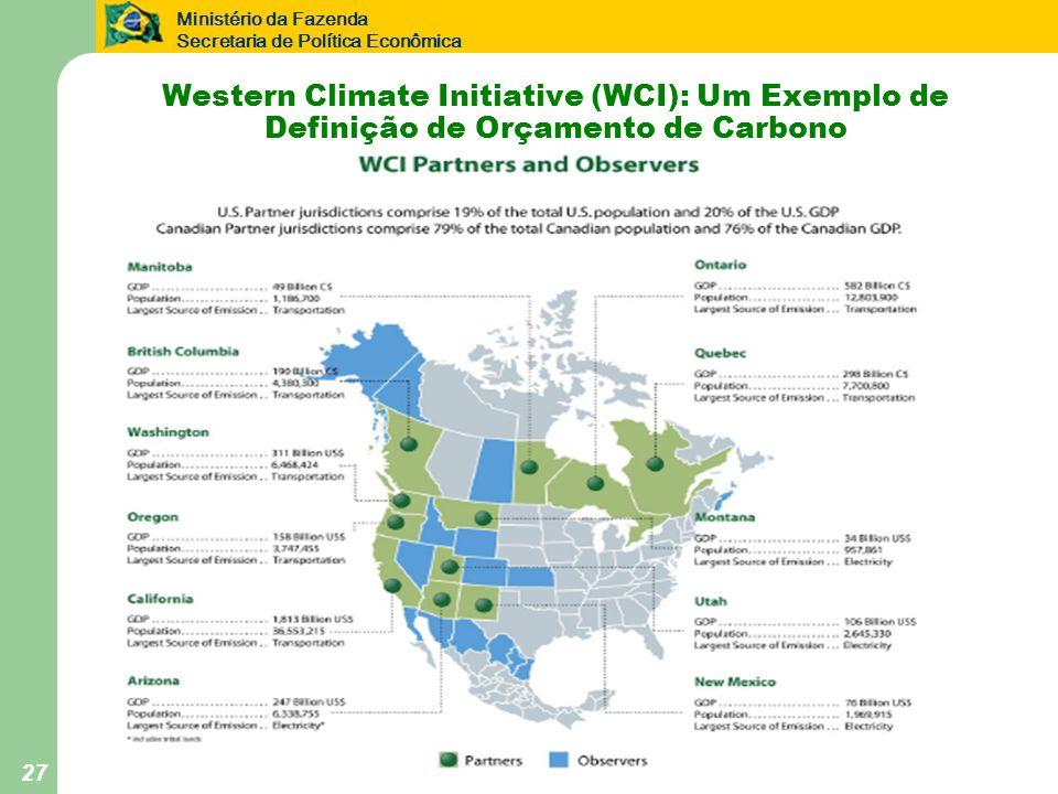 Ministério da Fazenda Secretaria de Política Econômica 27 Western Climate Initiative (WCI): Um Exemplo de Definição de Orçamento de Carbono