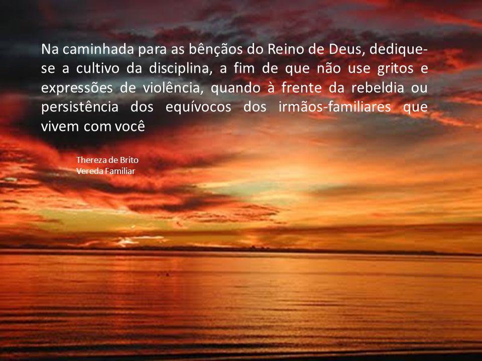 Na caminhada para as bênçãos do Reino de Deus, dedique- se a cultivo da disciplina, a fim de que não use gritos e expressões de violência, quando à fr
