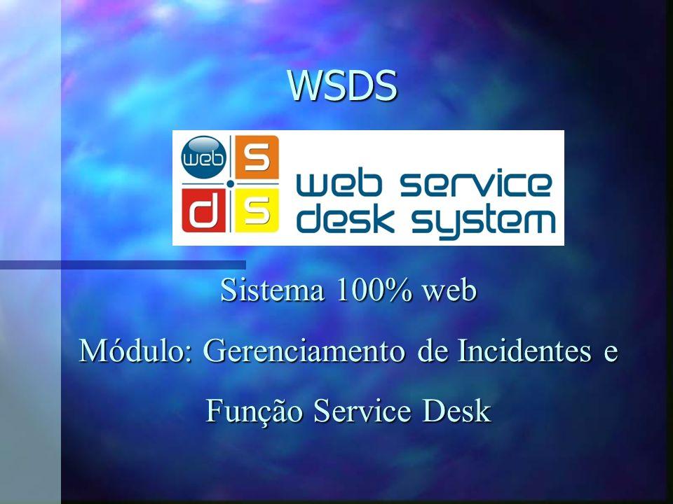 WSDS Sistema 100% web Módulo: Gerenciamento de Incidentes e Função Service Desk Função Service Desk