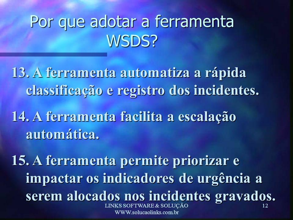 LINKS SOFTWARE & SOLUÇÃO WWW.solucaolinks.com.br 12 Por que adotar a ferramenta WSDS? 13. A ferramenta automatiza a rápida classificação e registro do