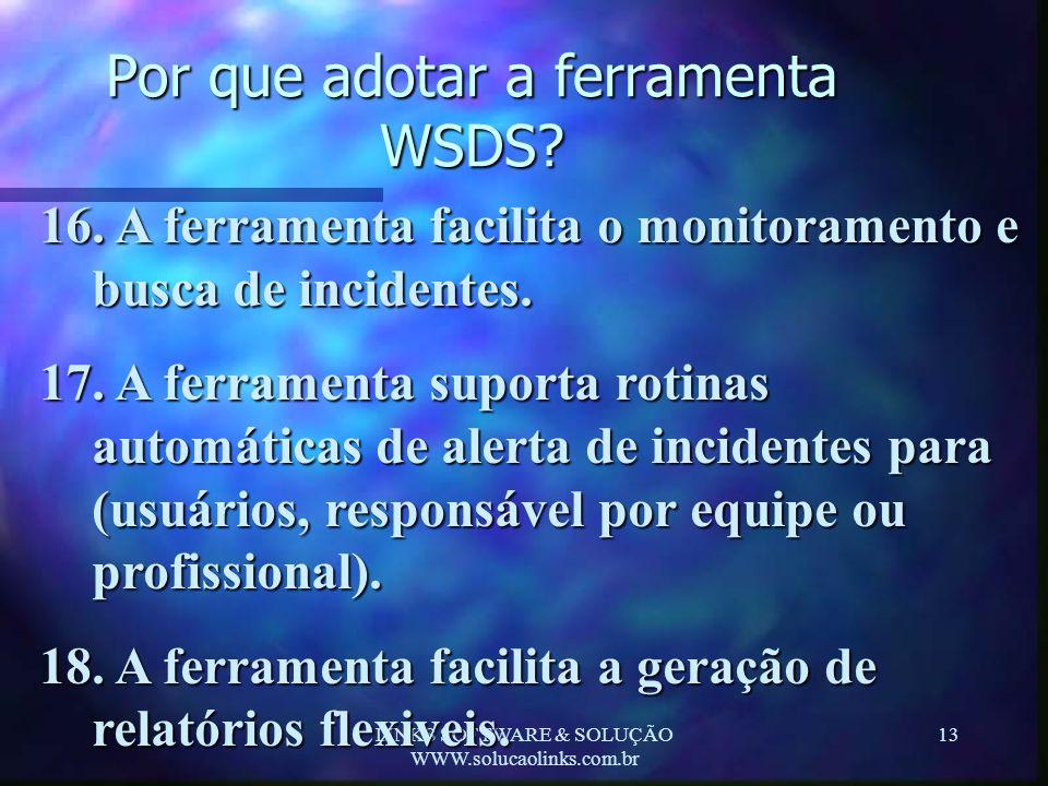 LINKS SOFTWARE & SOLUÇÃO WWW.solucaolinks.com.br 13 Por que adotar a ferramenta WSDS? 16. A ferramenta facilita o monitoramento e busca de incidentes.
