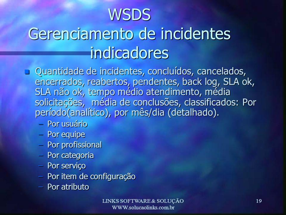 LINKS SOFTWARE & SOLUÇÃO WWW.solucaolinks.com.br 19 WSDS Gerenciamento de incidentes indicadores n Quantidade de incidentes, concluídos, cancelados, e