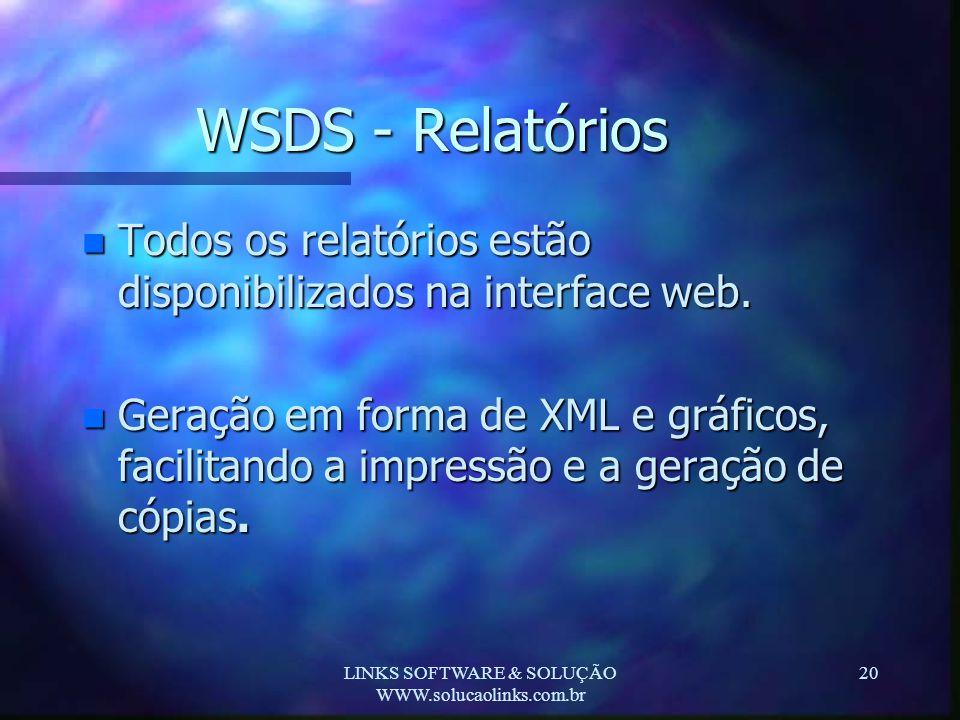 LINKS SOFTWARE & SOLUÇÃO WWW.solucaolinks.com.br 20 WSDS - Relatórios n Todos os relatórios estão disponibilizados na interface web. n Geração em form