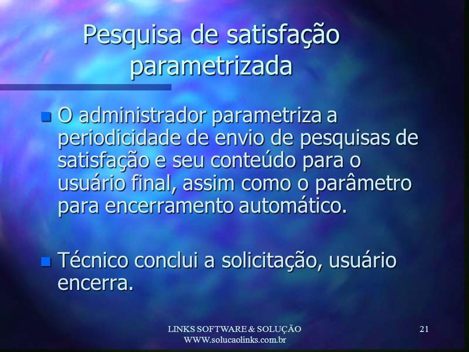 LINKS SOFTWARE & SOLUÇÃO WWW.solucaolinks.com.br 21 Pesquisa de satisfação parametrizada n O administrador parametriza a periodicidade de envio de pes