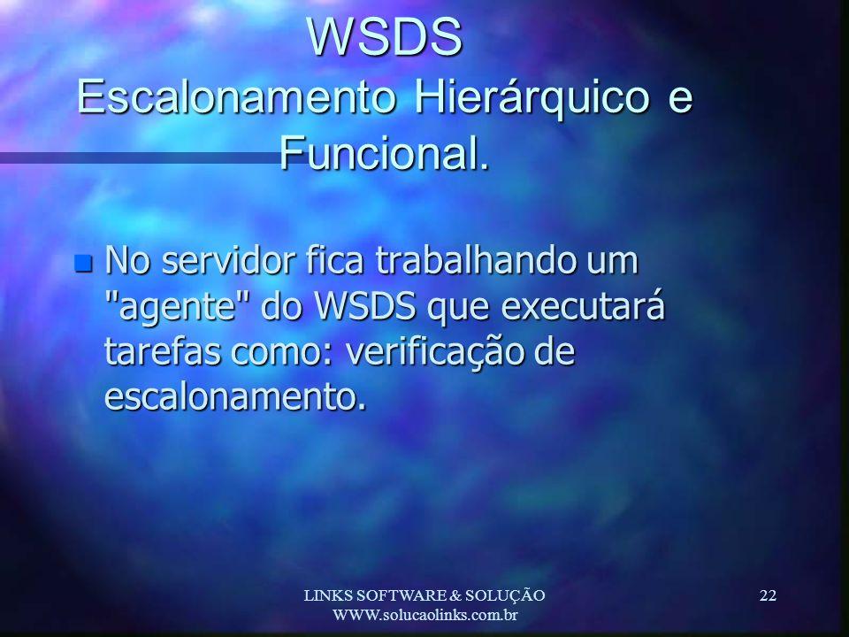 LINKS SOFTWARE & SOLUÇÃO WWW.solucaolinks.com.br 22 WSDS Escalonamento Hierárquico e Funcional. n No servidor fica trabalhando um