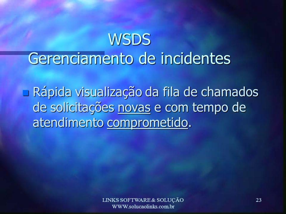 LINKS SOFTWARE & SOLUÇÃO WWW.solucaolinks.com.br 23 WSDS Gerenciamento de incidentes n Rápida visualização da fila de chamados de solicitações novas e