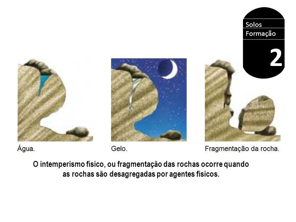 Solos Formação 2 O intemperismo físico, ou fragmentação das rochas ocorre quando as rochas são desagregadas por agentes físicos.