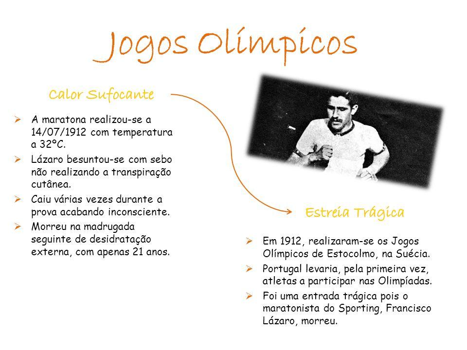 A maratona realizou-se a 14/07/1912 com temperatura a 32ºC.  Lázaro besuntou-se com sebo não realizando a transpiração cutânea.  Caiu várias vezes