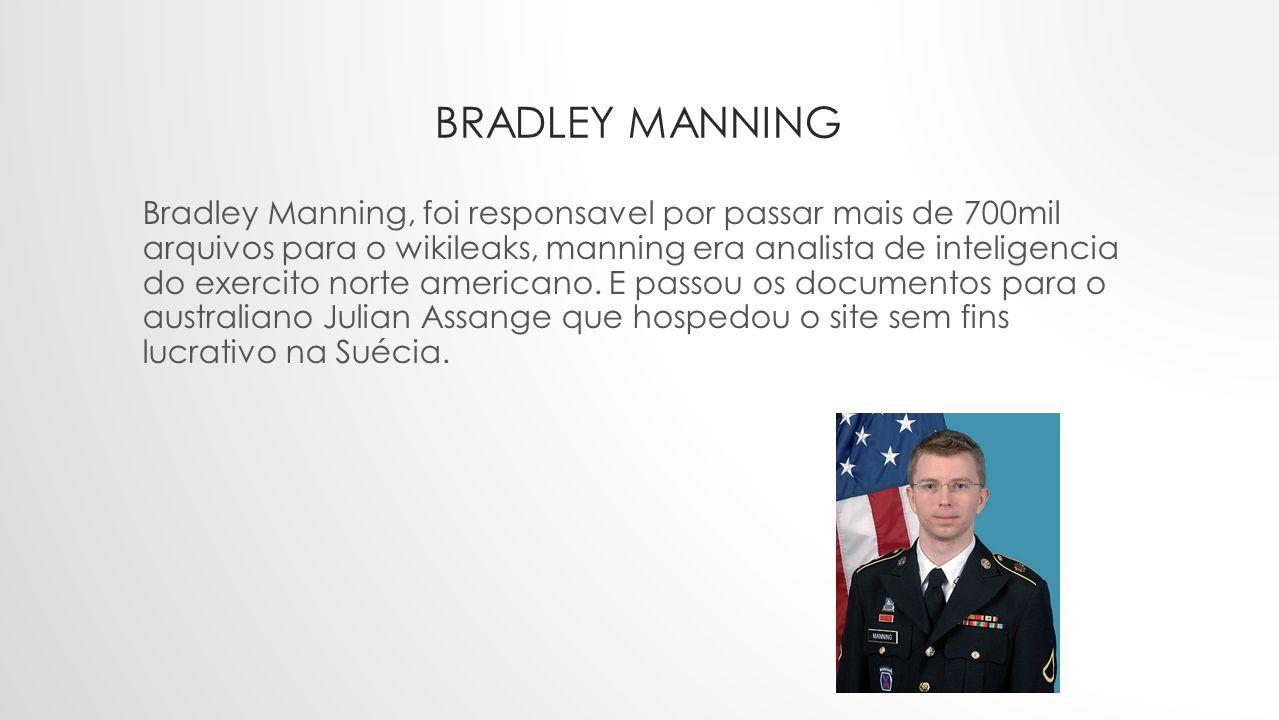 BRADLEY MANNING Bradley Manning, foi responsavel por passar mais de 700mil arquivos para o wikileaks, manning era analista de inteligencia do exercito norte americano.