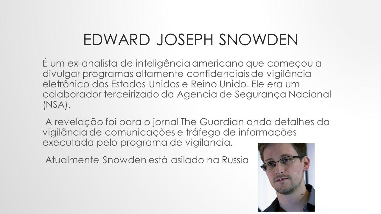 EDWARD JOSEPH SNOWDEN É um ex-analista de inteligência americano que começou a divulgar programas altamente confidenciais de vigilância eletrônico dos Estados Unidos e Reino Unido.