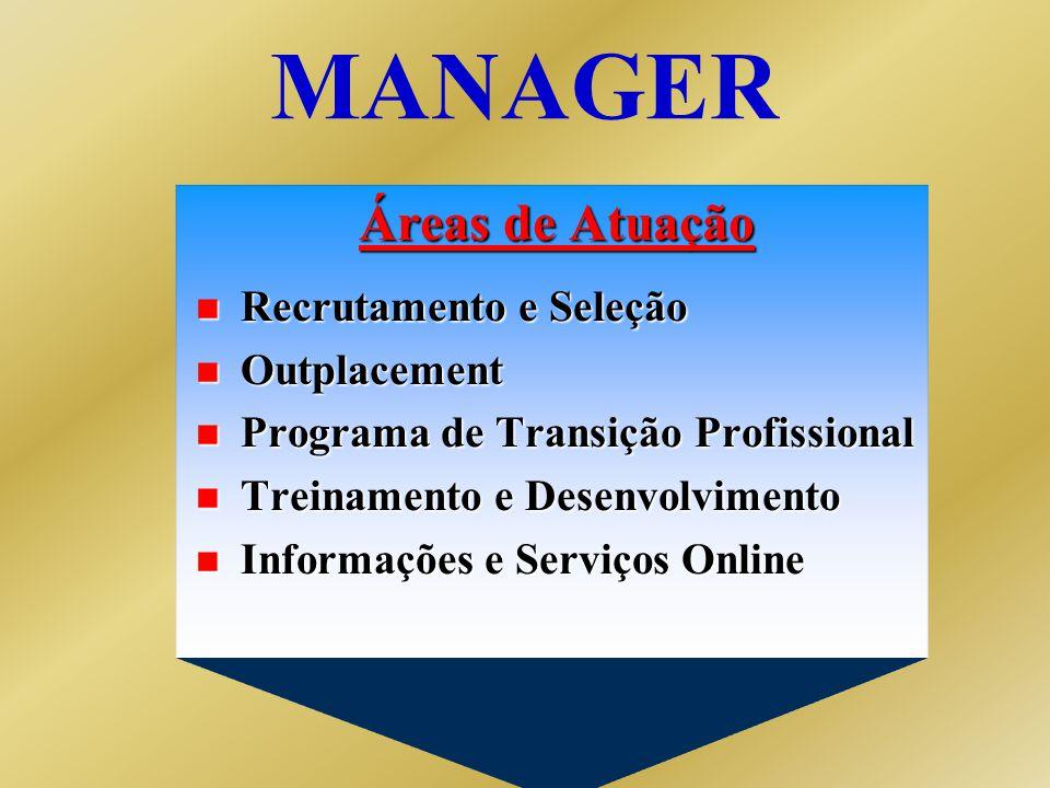 Áreas de Atuação n Recrutamento e Seleção n Outplacement n Programa de Transição Profissional n Treinamento e Desenvolvimento n Informações e Serviços Online MANAGER