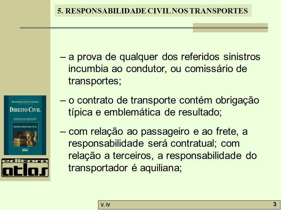 5. RESPONSABILIDADE CIVIL NOS TRANSPORTES V. IV 3 3 – a prova de qualquer dos referidos sinistros incumbia ao condutor, ou comissário de transportes;