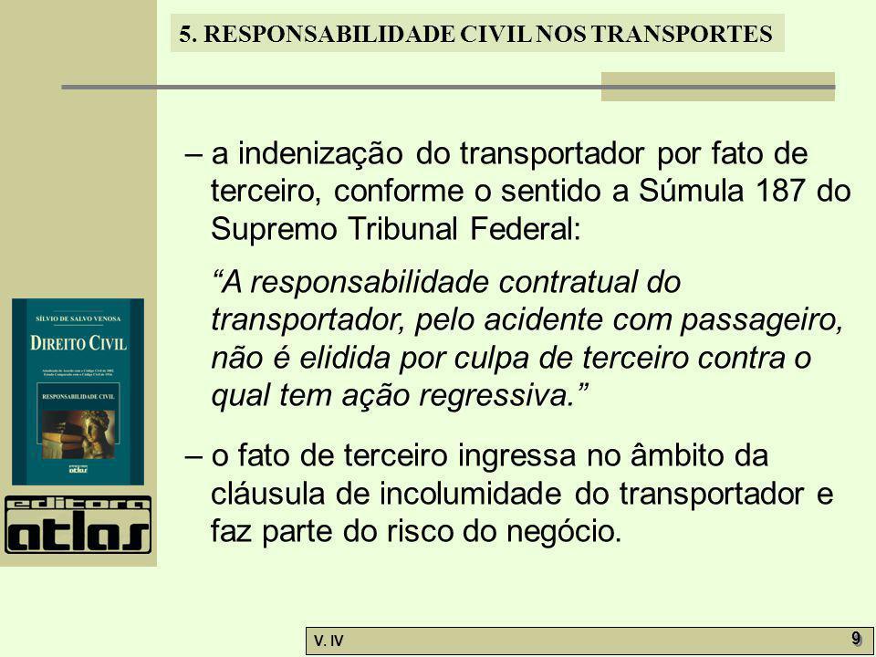 5. RESPONSABILIDADE CIVIL NOS TRANSPORTES V. IV 9 9 – a indenização do transportador por fato de terceiro, conforme o sentido a Súmula 187 do Supremo