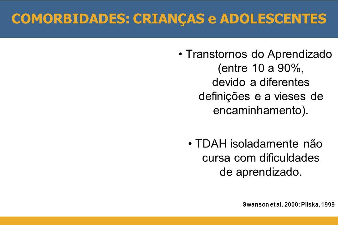 • Transtornos do Aprendizado (entre 10 a 90%, devido a diferentes definições e a vieses de encaminhamento). • TDAH isoladamente não cursa com dificuld