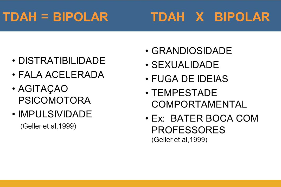 TDAH = BIPOLAR TDAH X BIPOLAR •DISTRATIBILIDADE •FALA ACELERADA •AGITAÇAO PSICOMOTORA •IMPULSIVIDADE •GRANDIOSIDADE •SEXUALIDADE •FUGA DE IDEIAS •TEMP