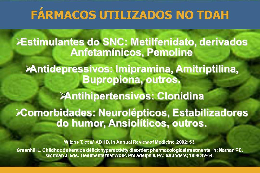  Estimulantes do SNC: Metilfenidato, derivados Anfetamínicos, Pemoline  Antidepressivos: Imipramina, Amitriptilina, Bupropiona, outros.