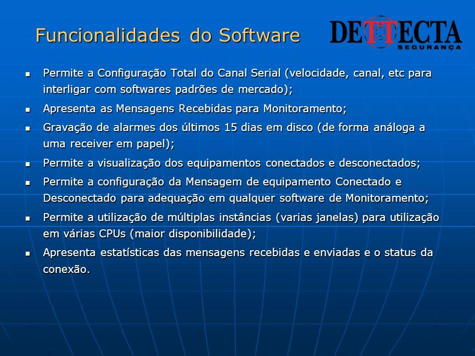 Funcionalidades do Software  Permite a Configuração Total do Canal Serial (velocidade, canal, etc para interligar com softwares padrões de mercado);