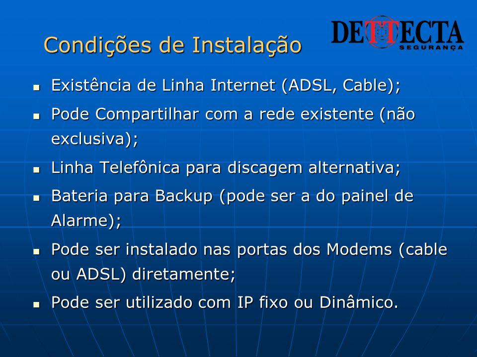Condições de Instalação  Existência de Linha Internet (ADSL, Cable);  Pode Compartilhar com a rede existente (não exclusiva);  Linha Telefônica par