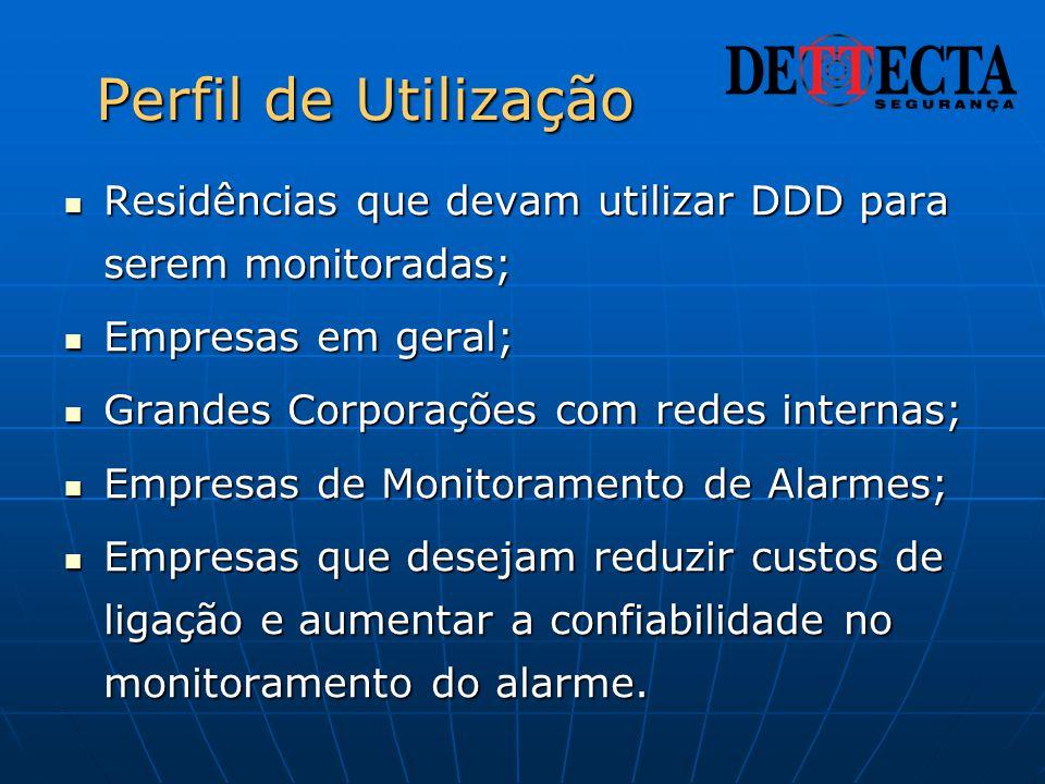 Perfil de Utilização  Residências que devam utilizar DDD para serem monitoradas;  Empresas em geral;  Grandes Corporações com redes internas;  Emp