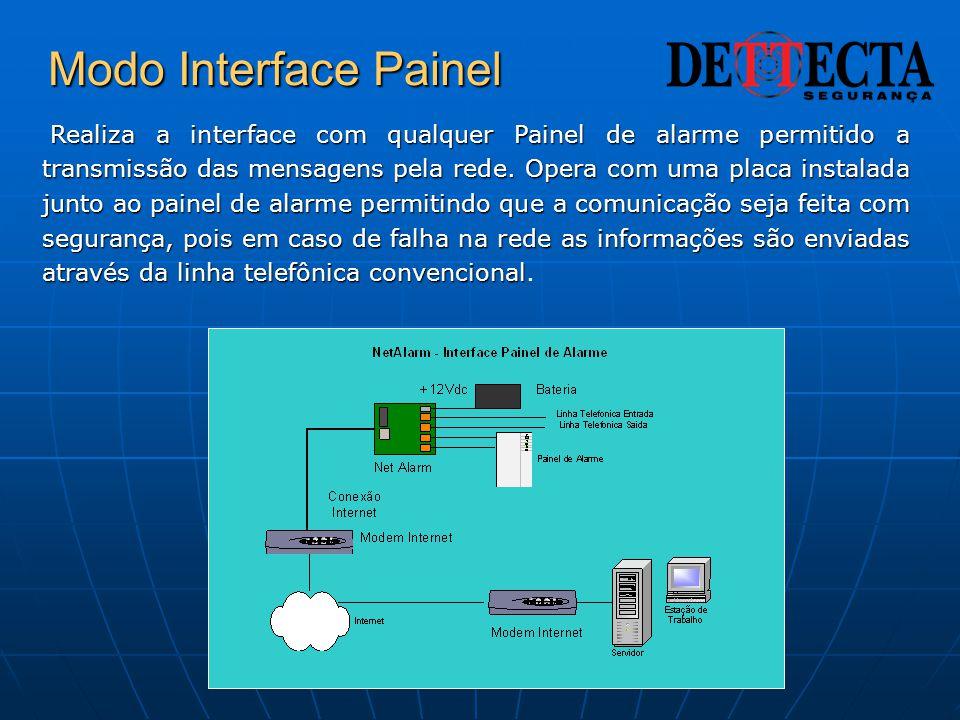 Modo Interface Painel Realiza a interface com qualquer Painel de alarme permitido a transmissão das mensagens pela rede. Opera com uma placa instalada