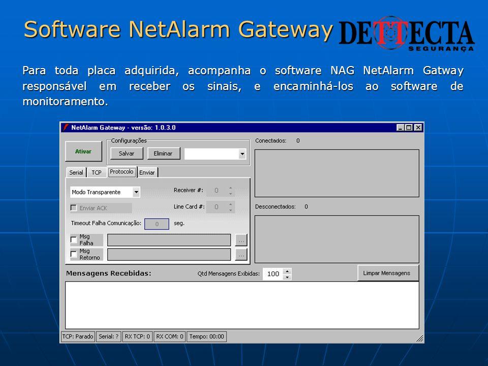 Software NetAlarm Gateway Para toda placa adquirida, acompanha o software NAG NetAlarm Gatway responsável em receber os sinais, e encaminhá-los ao sof
