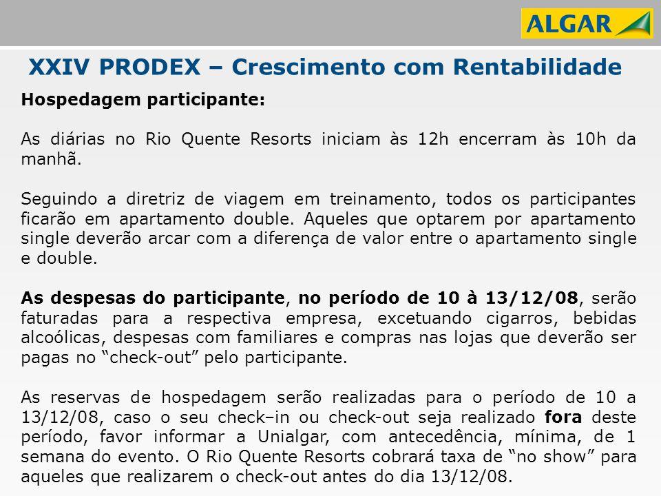 XXIV PRODEX – Crescimento com Rentabilidade Hospedagem participante: As diárias no Rio Quente Resorts iniciam às 12h encerram às 10h da manhã.