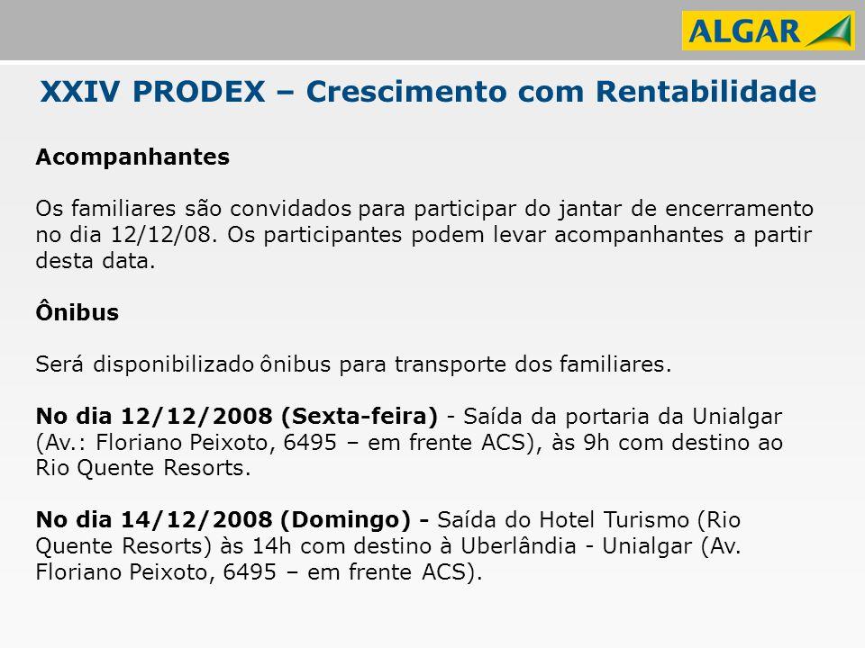 XXIV PRODEX – Crescimento com Rentabilidade Acompanhantes Os familiares são convidados para participar do jantar de encerramento no dia 12/12/08.