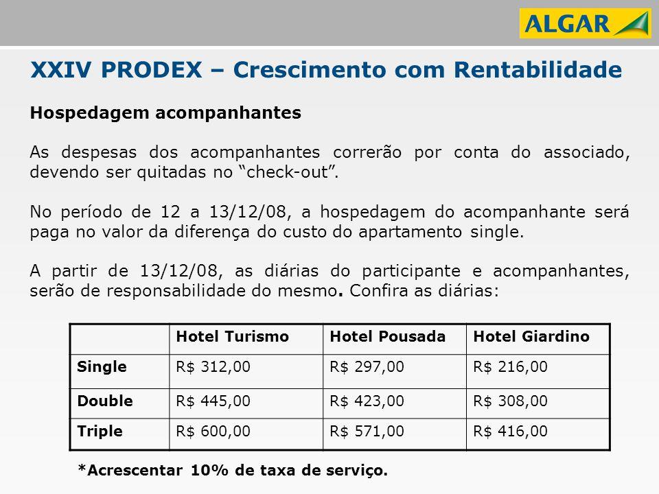 XXIV PRODEX – Crescimento com Rentabilidade Hospedagem acompanhantes As despesas dos acompanhantes correrão por conta do associado, devendo ser quitadas no check-out .