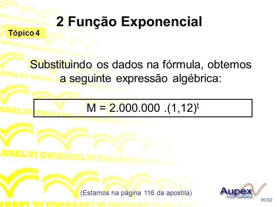 2 Função Exponencial (Estamos na página 116 da apostila) 90/92 Tópico 4 Substituindo os dados na fórmula, obtemos a seguinte expressão algébrica: M = 2.000.000.(1,12) t