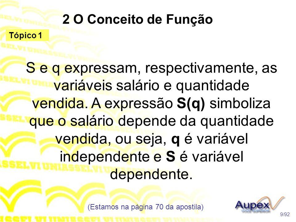 2 O Conceito de Função S e q expressam, respectivamente, as variáveis salário e quantidade vendida.