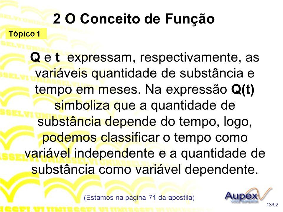2 O Conceito de Função Q e t expressam, respectivamente, as variáveis quantidade de substância e tempo em meses.