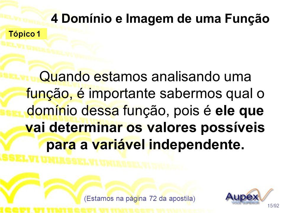 4 Domínio e Imagem de uma Função Quando estamos analisando uma função, é importante sabermos qual o domínio dessa função, pois é ele que vai determinar os valores possíveis para a variável independente.
