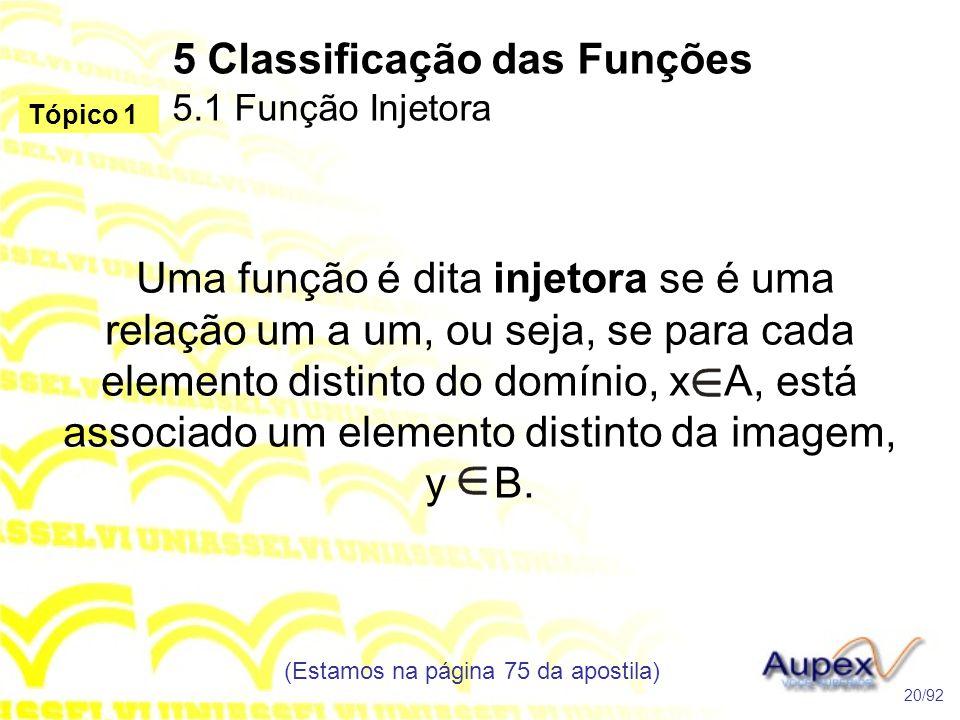 5 Classificação das Funções 5.1 Função Injetora (Estamos na página 75 da apostila) 20/92 Tópico 1 Uma função é dita injetora se é uma relação um a um, ou seja, se para cada elemento distinto do domínio, x A, está associado um elemento distinto da imagem, y B.