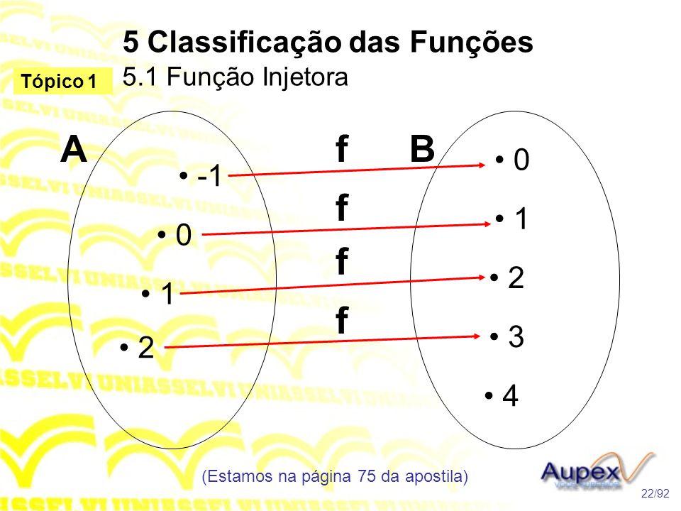 5 Classificação das Funções 5.1 Função Injetora (Estamos na página 75 da apostila) 22/92 Tópico 1 • -1 • 0 • 1 • 2 • 0 • 1 • 2 • 3 • 4 ABf f f f