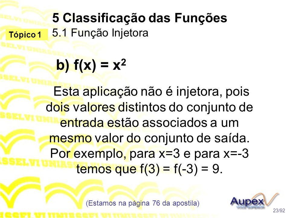 5 Classificação das Funções 5.1 Função Injetora (Estamos na página 76 da apostila) 23/92 Tópico 1 b) f(x) = x 2 Esta aplicação não é injetora, pois dois valores distintos do conjunto de entrada estão associados a um mesmo valor do conjunto de saída.