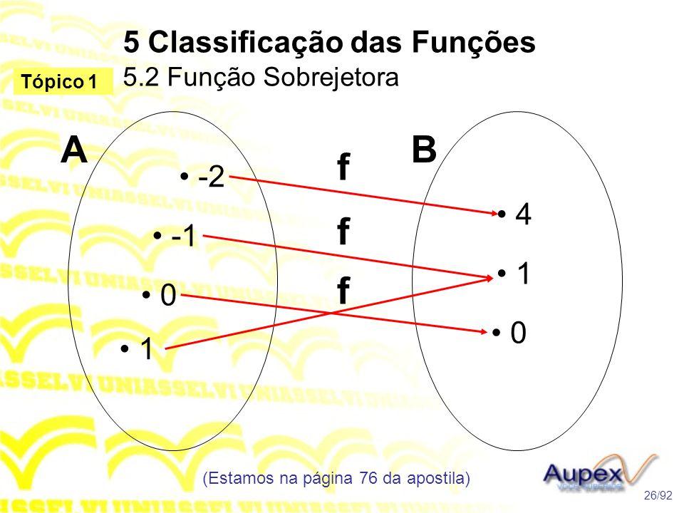 5 Classificação das Funções 5.2 Função Sobrejetora (Estamos na página 76 da apostila) 26/92 Tópico 1 • -2 • -1 • 0 • 1 • 4 • 1 • 0 AB f f f