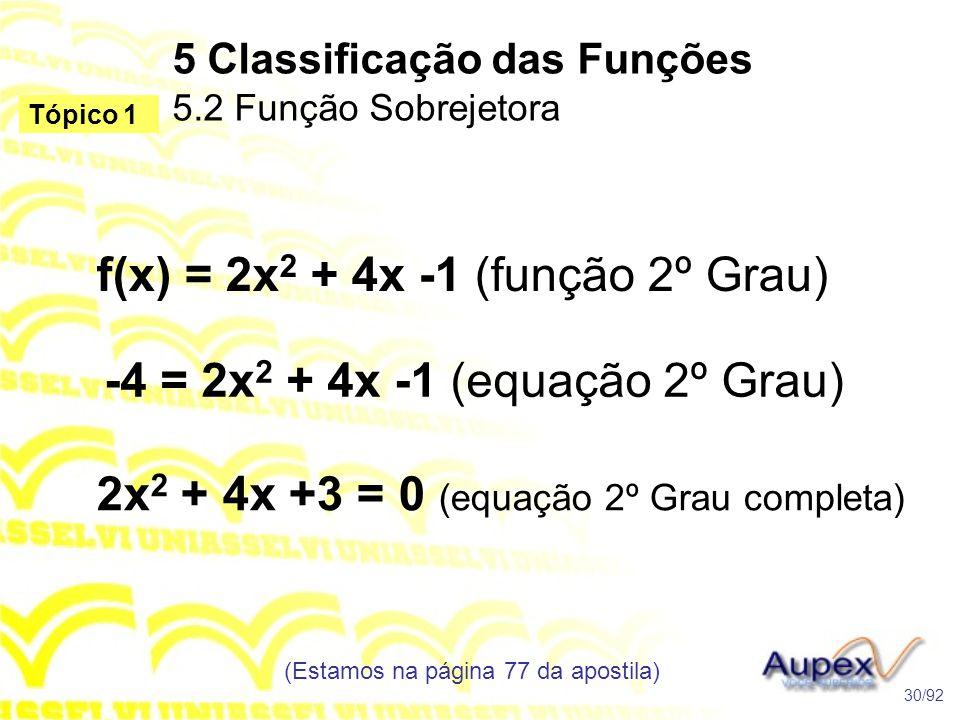 5 Classificação das Funções 5.2 Função Sobrejetora (Estamos na página 77 da apostila) 30/92 Tópico 1 f(x) = 2x 2 + 4x -1 (função 2º Grau) -4 = 2x 2 + 4x -1 (equação 2º Grau) 2x 2 + 4x +3 = 0 (equação 2º Grau completa)