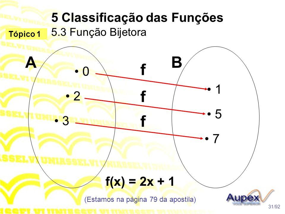 5 Classificação das Funções 5.3 Função Bijetora (Estamos na página 79 da apostila) 31/92 Tópico 1 • 0 • 2 • 1 • 5 • 7 AB f f f • 3 f(x) = 2x + 1