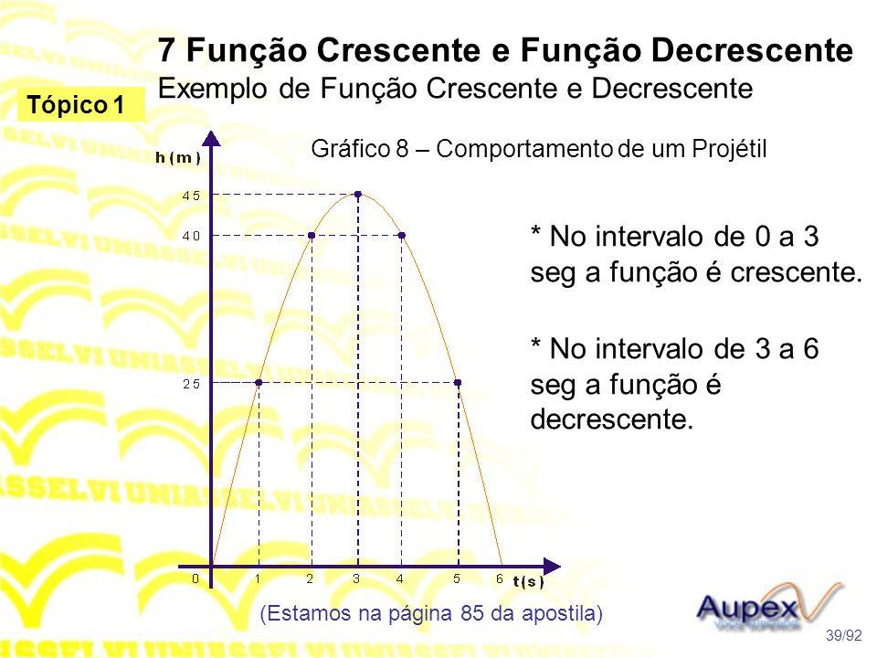 Gráfico 8 – Comportamento de um Projétil 7 Função Crescente e Função Decrescente Exemplo de Função Crescente e Decrescente (Estamos na página 85 da apostila) 39/92 Tópico 1 * No intervalo de 0 a 3 seg a função é crescente.