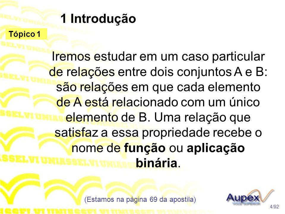 1 Introdução Iremos estudar em um caso particular de relações entre dois conjuntos A e B: são relações em que cada elemento de A está relacionado com um único elemento de B.