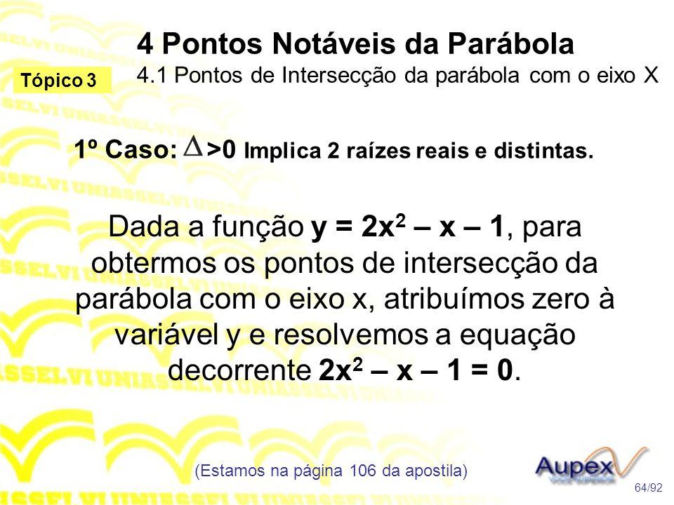 1º Caso: >0 Implica 2 raízes reais e distintas.