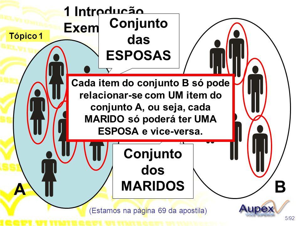 1 Introdução Exemplo (Estamos na página 69 da apostila) 5/92 Tópico 1 Conjunto das ESPOSAS Conjunto dos MARIDOS Cada item do conjunto B só pode relacionar-se com UM item do conjunto A, ou seja, cada MARIDO só poderá ter UMA ESPOSA e vice-versa.